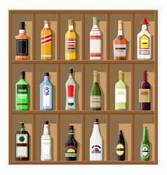 alcohol drinks collection bottles on shelf vector image