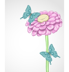 background for greeting card with flower and butte vector image vector image