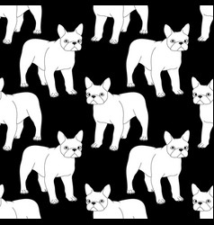 Black and white seamless pattern with bulldog vector
