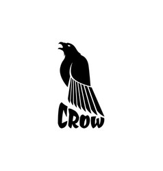 black crow logo on a white background raven vector image