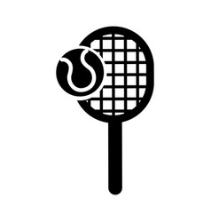 Black icon tennis racket and ball cartoon vector