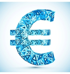 Blue abstract triangles euro symbol vector image vector image