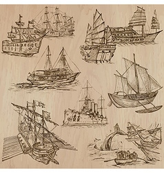 Boats - An hand drawn pack vector image vector image