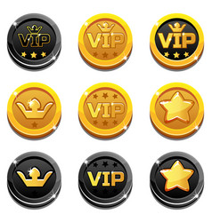 Cartoon vip and crown coins vector