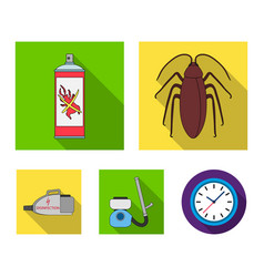 Cockroach and equipment for disinfection flat vector