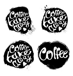 Collection of coffee hand draw logo vector