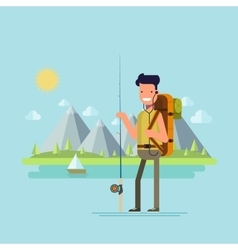 Content tourist with a fishing rod to catch fish vector