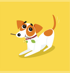 Cute jack russell terrier running with stick vector