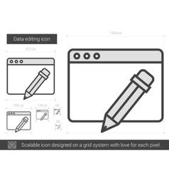 Data editing line icon vector