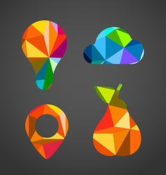 Different icons of color triangles vector image vector image
