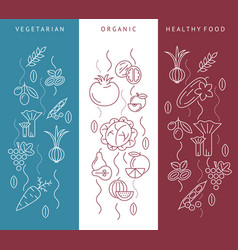 Digital blue red vegetable icons set vector