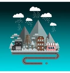Flat design winter landscape vector