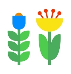 Flower icons colorful plants nature flat vector image vector image