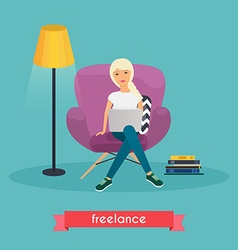Girls working at home Young woman sitting on a vector image vector image