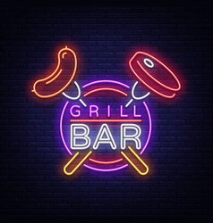 grill logo in a neon style on vector image vector image