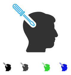 Head surgery screwdriver flat icon vector