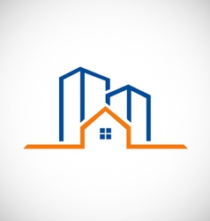 Home building line logo vector