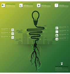 Light bulb tree and root infographic science vector