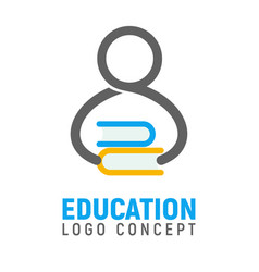 Logotype of human silhouette with stack of books vector