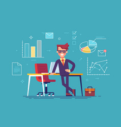 man with business icons on background vector image