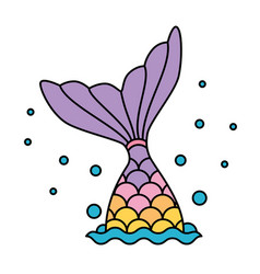 Mermaid tail rainbow pastel colorful jumping to vector