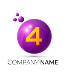 Number four splash logo purple dots and bubbles vector