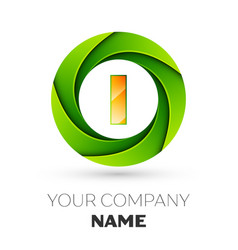 Realistic letter i logo in the colorful circle vector