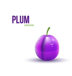 Realistic Plum isolated on white background vector image