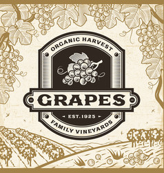 retro grapes label on harvest landscape vector image vector image