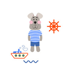sailor dog tshirt cartoon design vector image
