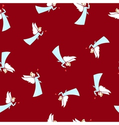 Seamless Winter Pattern Christmas Angel vector image