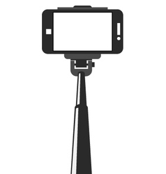 Selfie stick and smartphone with blank screen vector