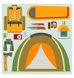 Set flat camping elements vector