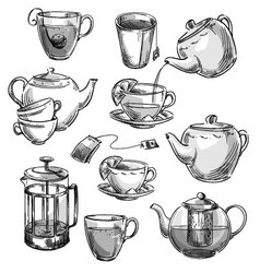 Set of tea cups and teapots vector image
