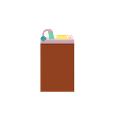 Side view cartoon picture of kitchen sink vector