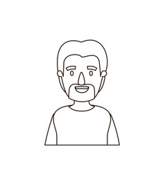 Sketch contour half body man with moustache and vector