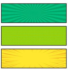 three bright comic book style banner design vector image