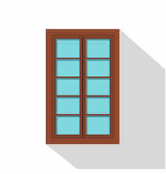 wooden brown latticed window icon flat style vector image vector image