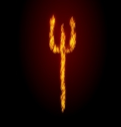 Concept Fire Trident on Black Background vector image