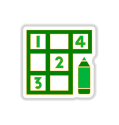 In paper sticker style sudoku vector
