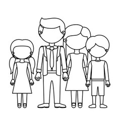 Sketch silhouette faceless family group in elegant vector