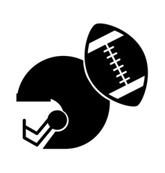 black icon football helmet and ball vector image