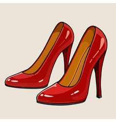 Ladies red patent leather shoes with high heels vector