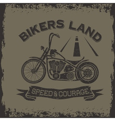 Grunge vintage poster bikers land with motorbike vector