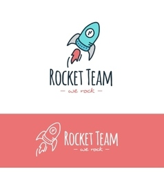 Cartoon style rocket logo hand drawn vector