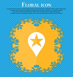Map pointer award gps location floral flat design vector