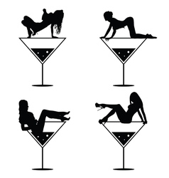 Girl and martini black silhouette vector