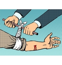 Bandage to stop the bleeding after being wounded vector