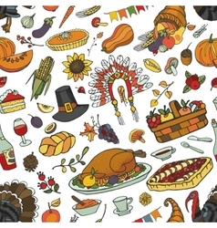 Hanksgiving day doodle seamless patterncolorful vector
