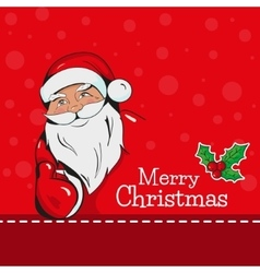 Christmas card with santa claus showing thumb up vector